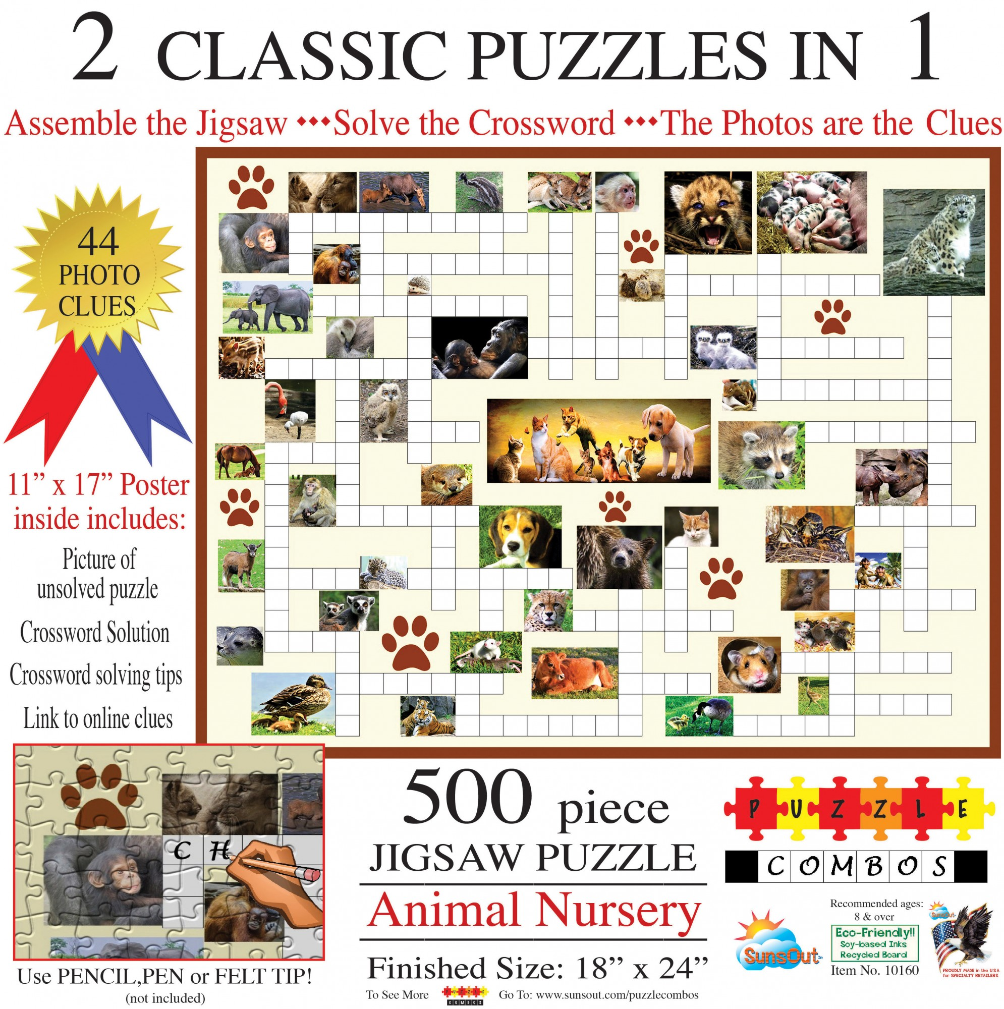 SunsOut Puzzle - #10160 Animal Nursery - 500pc  Puzzle Combo, Crossword Jigsaw Puzzle