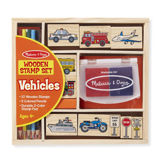 2409 - Melissa & Doug Wooden Stamp Set Vehicle