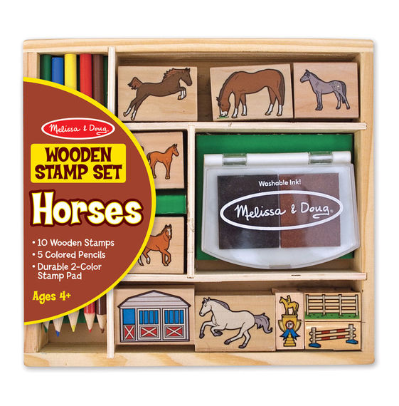 2410 - Melissa & Doug Wooden Horse Stamp Set