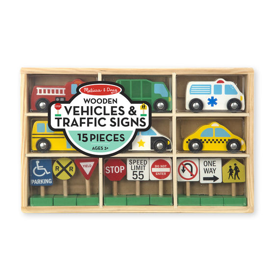 3177 - Melissa & Doug Wooden Vehicles and Traffic Signs