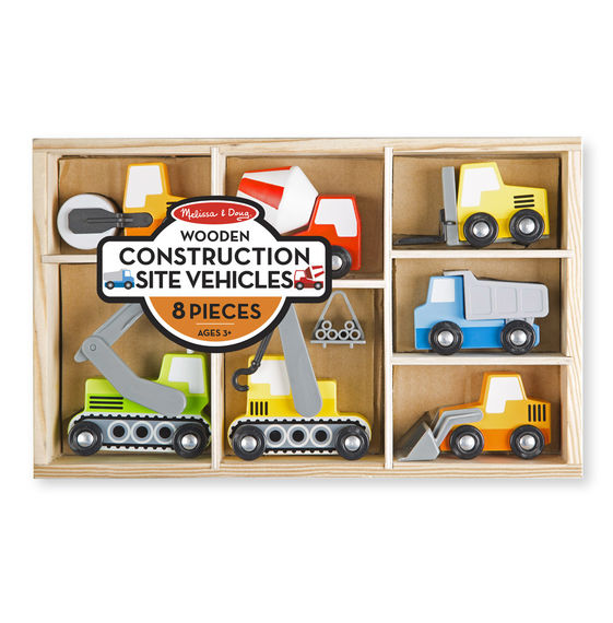 3180 - Melissa & Doug Wooden Construction Site Vehicles