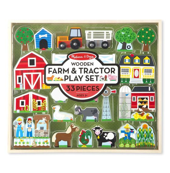 4800 - Melissa & Doug Wooden Farm & Tractor Play Set