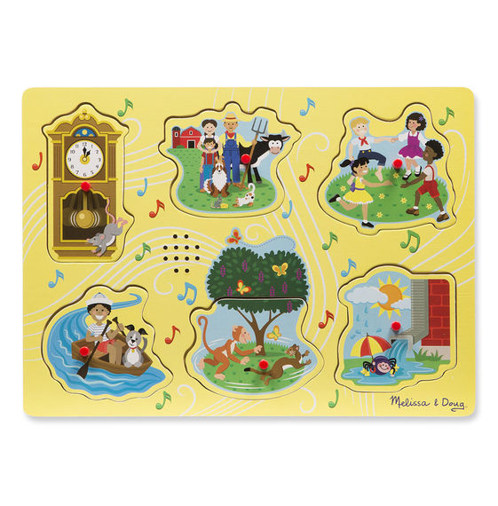 735 - Melissa & Doug Sing-Along Nursery Rhymes Sound Puzzle - Yellow