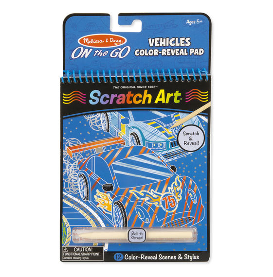 9141 - Melissa & Doug On-the-Go Scratch Art: Color Reveal Pad - Vehicles