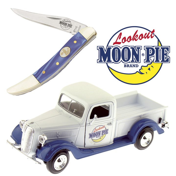 Frost Cutlery Blue/Marble Toothpick Knife and Moon Pie Truck Gift Set