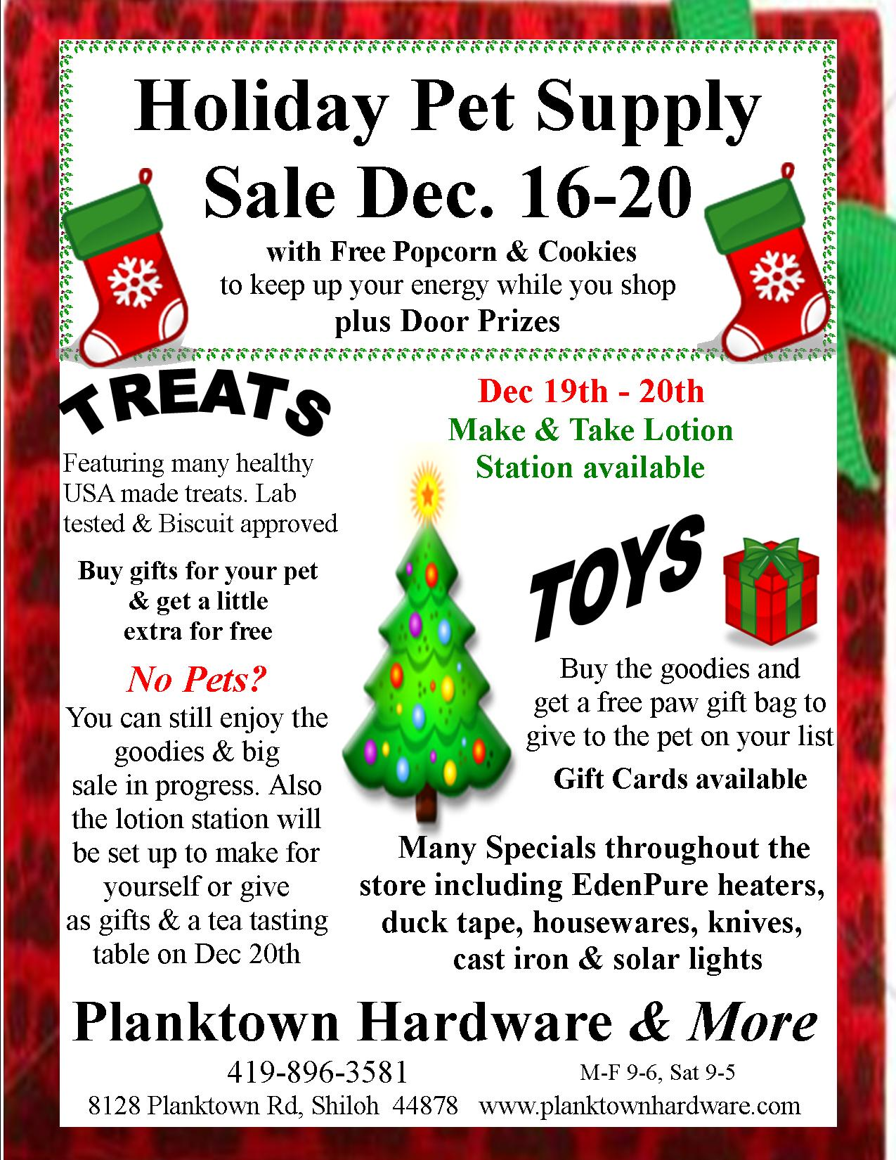 Holiday Pet Supply Sale